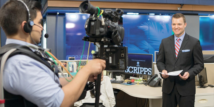 The activity around the main area of the newsroom denotes a collective effort from numerous WPTV team members in order to deliver news live on a constant basis And when the news breaks Jay goes live with mere minutes to ascertain  the updated information