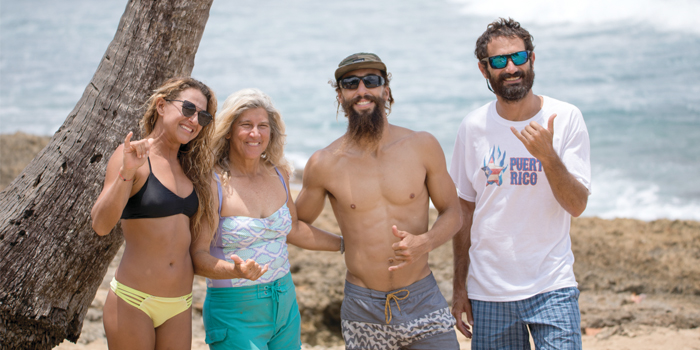 Local surfers and activists from left to right Lilac Alvarado Kathy Valentine Hall Giovanni Ricci and Javier Fernandez discuss their own insights on ecological preservation of Playuela and Borinquen