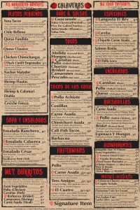 Calaveras Cantina Dinner Menu