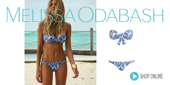 Melissa Odabash Martinique Bandeau Bikini Blue Ikat