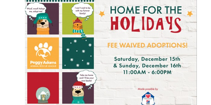 Peggy Adams Animal Rescue League Will Waive All Adoption Fees this Weekend to Help Animals Find a Home for the Holidays Saturday and Sunday Dec 15 and 16th
