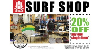 Save 20% at Jupiter Locals Surf Shop